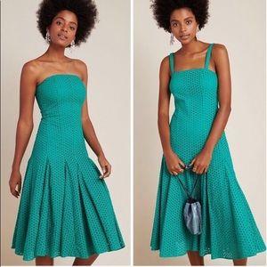 Maeve Anthropologie Green eyelet strapless dress
